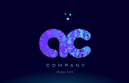 ac: ac alphabet pink blue bubble circle dots logo icon design template