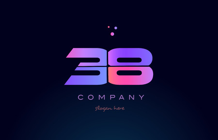 38 thirty eight pink blue purple number digit numeral dots creative company logo vector icon design template