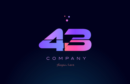 43 forty three pink blue purple number digit numeral dots creative company logo vector icon design template