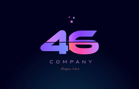 46 forty six pink blue purple number digit numeral dots creative company logo vector icon design template