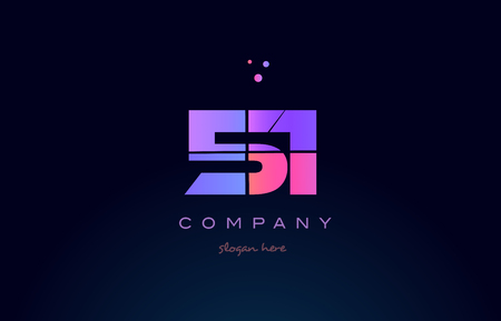 51 fifty one pink blue purple number digit numeral dots creative company logo vector icon design template