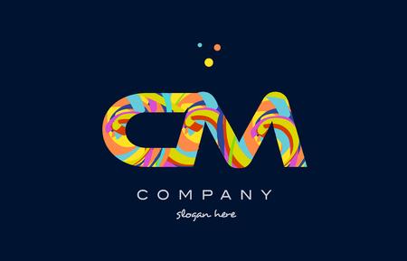 cm cm アルファベット文字ロゴ色カラフルなレインボー アクリル フォント創造的なテキスト ドット会社ベクトル アイコン デザイン テンプレート