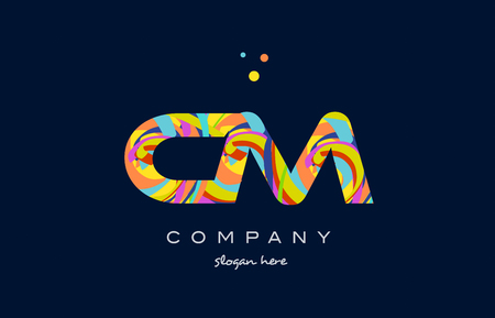 cm c m alphabet letter logo colors colorful rainbow acrylic font creative text dots company vector icon design template