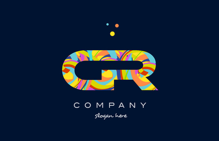 cr: cr c r alphabet letter logo colors colorful rainbow acrylic font creative text dots company vector icon design template Illustration