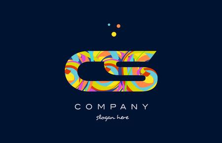 cs: cs c s alphabet letter logo colors colorful rainbow acrylic font creative text dots company vector icon design template