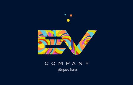 ev e v alphabet letter logo colors colorful rainbow acrylic font creative text dots company vector icon design template Illustration