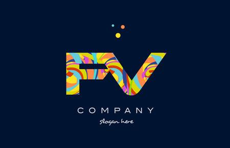 fv: fv f v alphabet letter logo colors colorful rainbow acrylic font creative text dots company vector icon design template