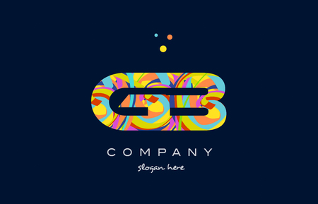 gb g b alphabet letter logo colors colorful rainbow acrylic font creative text dots company vector icon design template