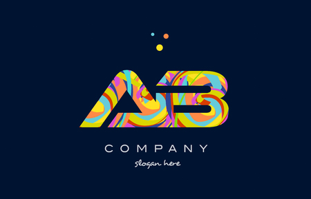 ab a b alphabet letter logo colors colorful rainbow acrylic font creative text dots company vector icon design template Illustration