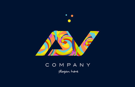 av a v alphabet letter logo colors colorful rainbow acrylic font creative text dots company vector icon design template