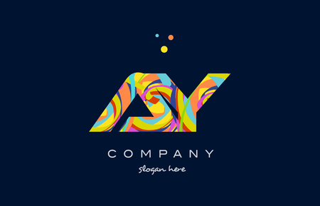 ay a y alphabet letter logo colors colorful rainbow acrylic font creative text dots company vector icon design template