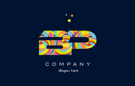 bp b p alphabet letter logo colors colorful rainbow acrylic font creative text dots company vector icon design template