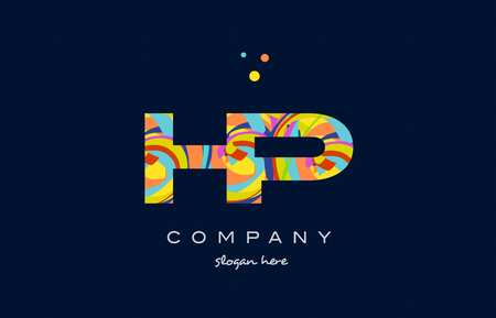 hp h p alphabet letter logo colors colorful rainbow acrylic font creative text dots company vector icon design template Illustration