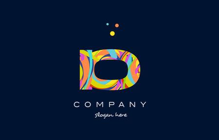 io i o alphabet letter logo colors colorful rainbow acrylic font creative text dots company vector icon design template Ilustração