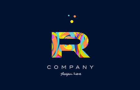 ir i r alphabet letter logo colors colorful rainbow acrylic font creative text dots company vector icon design template