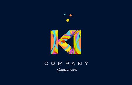 ki k i alphabet letter logo colors colorful rainbow acrylic font creative text dots company vector icon design template