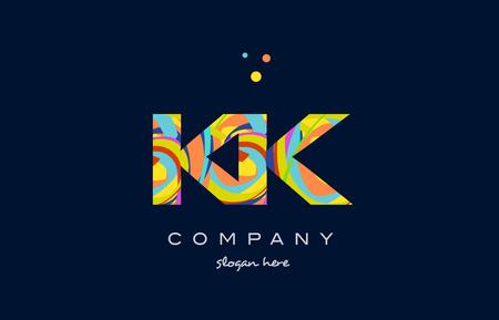kk k k alphabet letter logo colors colorful rainbow acrylic font creative text dots company vector icon design template Logó