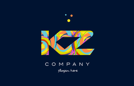 kz: kz k z alphabet letter logo colors colorful rainbow acrylic font creative text dots company vector icon design template