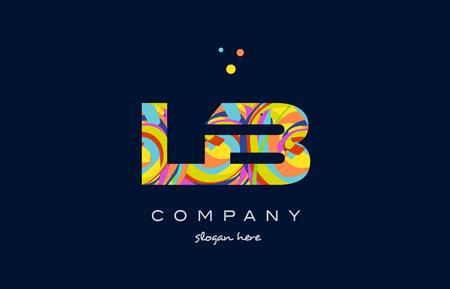 lb l b アルファベット文字ロゴ色カラフルなレインボー アクリル フォント創造的なテキスト ドット会社ベクトル アイコン デザイン テンプレート