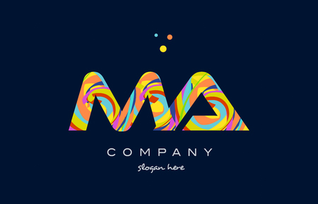 ma m a alphabet letter logo colors colorful rainbow acrylic font creative text dots company vector icon design template