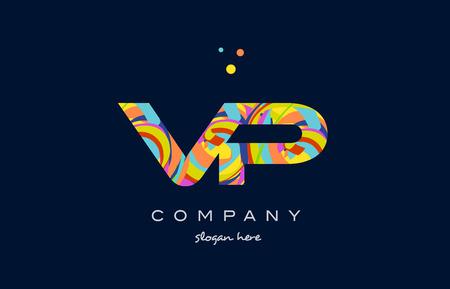 vp v p alphabet letter logo colors colorful rainbow acrylic font creative text dots company vector icon design template Illustration
