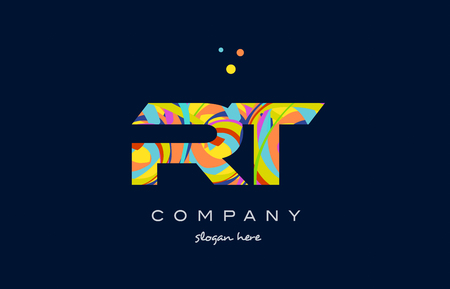rt: rt r t alphabet letter logo colors colorful rainbow acrylic font creative text dots company vector icon design template