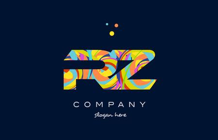rz r z alphabet letter logo colors colorful rainbow acrylic font creative text dots company vector icon design template