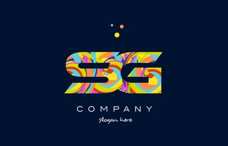 sg: sg s g alphabet letter logo colors colorful rainbow acrylic font creative text dots company vector icon design template Illustration