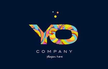 yo y o alphabet letter logo colors colorful rainbow acrylic font creative text dots company vector icon design template Illustration