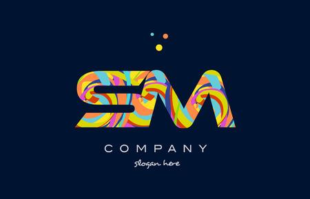 sm s m alphabet letter logo colors colorful rainbow acrylic font creative text dots company vector icon design template Ilustrace
