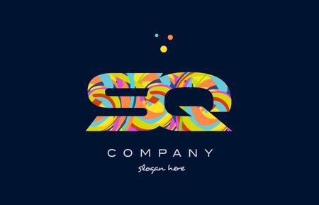 sq s q alphabet letter logo colors colorful rainbow acrylic font creative text dots company vector icon design template Logó