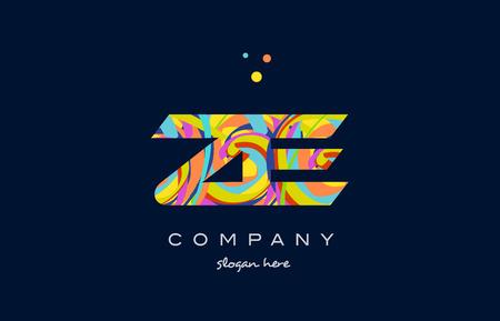 ze: ze z e alphabet letter logo colors colorful rainbow acrylic font creative text dots company vector icon design template