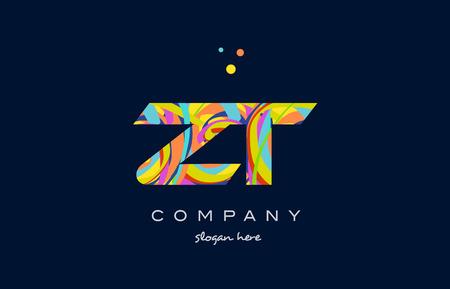 Zt zt alfabe harf logo renkler gökkuşağısı akrilik yazı tipi yaratıcı metin nokta şirket vektör simge tasarım şablonu