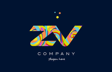 zv z v alphabet letter logo colors colorful rainbow acrylic font creative text dots company vector icon design template