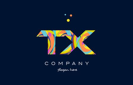 tx: tx t x alphabet letter logo colors colorful rainbow acrylic font creative text dots company vector icon design template