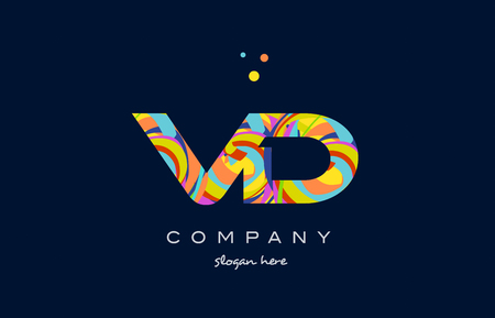 vd v d alphabet letter logo colors colorful rainbow acrylic font creative text dots company vector icon design template