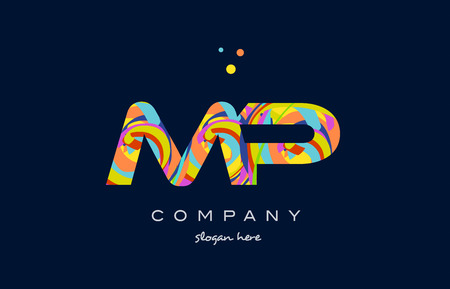 mp: mp m p alphabet letter logo colors colorful rainbow acrylic font creative text dots company vector icon design template Illustration