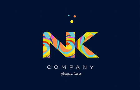 nk n k alphabet letter logo colors colorful rainbow acrylic font creative text dots company vector icon design template Illusztráció