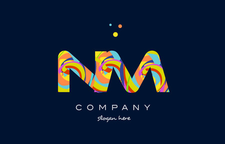 nm n m alphabet letter logo colors colorful rainbow acrylic font creative text dots company vector icon design template Illustration