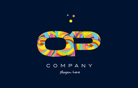 op o p alphabet letter logo colors colorful rainbow acrylic font creative text dots company vector icon design template
