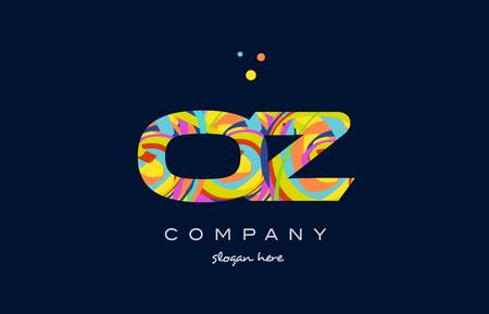 oz o z alphabet letter logo colors colorful rainbow acrylic font creative text dots company vector icon design template