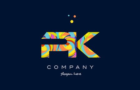 pk p k alphabet letter logo colors colorful rainbow acrylic font creative text dots company vector icon design template Logó