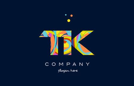 tk t k alphabet letter logo colors colorful rainbow acrylic font creative text dots company vector icon design template
