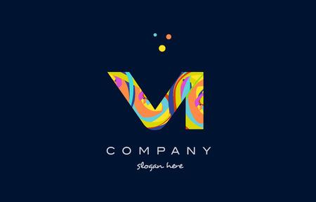 vi v i alphabet letter logo colors colorful rainbow acrylic font creative text dots company vector icon design template