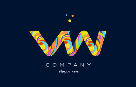 vw: vw v w alphabet letter logo colors colorful rainbow acrylic font creative text dots company vector icon design template