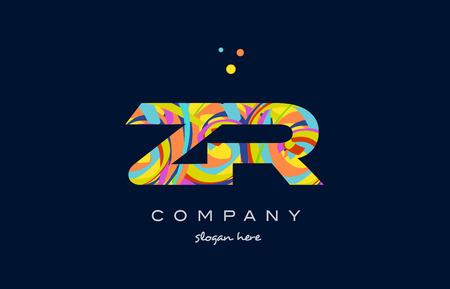zr z r alphabet letter logo colors colorful rainbow acrylic font creative text dots company vector icon design template