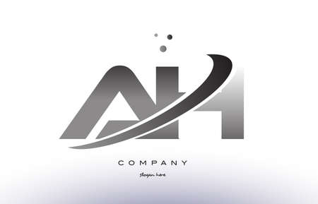 ah a h alphabet letter logo black white grey swoosh silver font creative text dots company vector icon design template Illustration