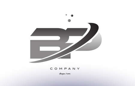 bp b p alphabet letter logo black white grey swoosh silver font creative text dots company vector icon design template Illustration