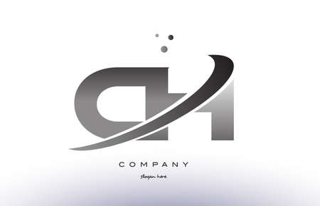 ch: ch c h alphabet letter logo black white grey swoosh silver font creative text dots company vector icon design template