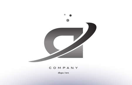 ci: ci c i alphabet letter logo black white grey swoosh silver font creative text dots company vector icon design template